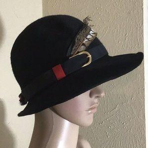 3deeb67860df15 Vintage Italian Fedora Wool Hat with Feathers!